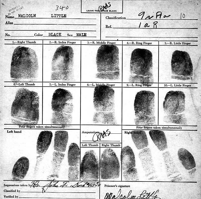 Malcolm X's fingerprints.